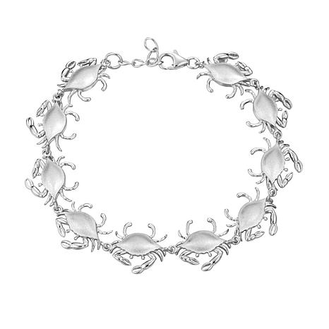 Alamea Sterling Silver Blue Crab Link Bracelet