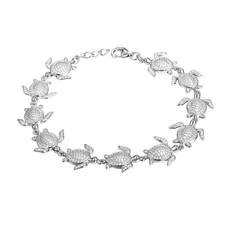 Alamea Sterling Silver Cubic Zirconia Turtle Link Bracelet