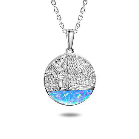 Alamea Sterling Silver Synthetic Blue Opal CZ Light House Disc Pendant