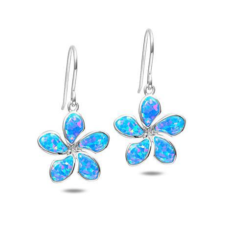 Alamea Sterling Silver Synthetic Blue Opal Plumeria Flower Earrings