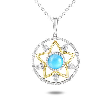Alamea Sterling Silver Two-Tone Larimar and CZ Star Pendant with Chain