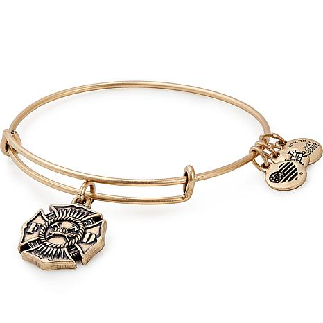 "Alex and Ani ""Firefighter ""Adjustable Wire Bangle Charm Bracelet"