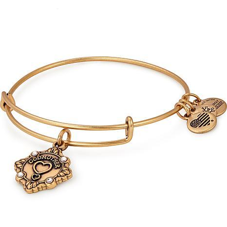 "Alex and Ani ""Godmother"" Adjustable Wire Bangle Crystal Charm Bracelet"
