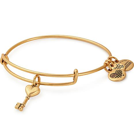 16aec3ef66a97f Alex and Ani Key to Love Charm Bangle Bracelet - 8937527 | HSN