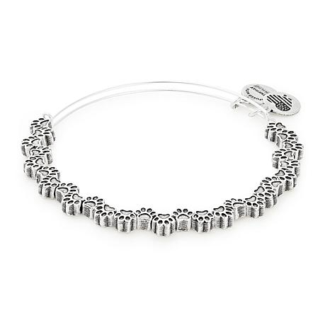 "Alex and Ani ""Paw Print"" Expandable Bangle Charm Bracelet"
