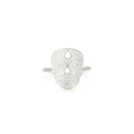 Alex and Ani Sterling Silver Calavera Adjustable Statement Ring