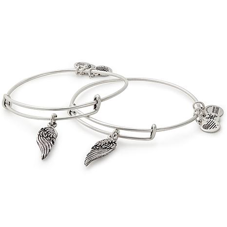 Alex and Ani Wings Charm Set of 2 Bangles-Goldtone or Silvertone