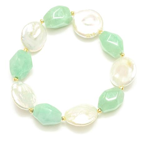Amara Jewelry Collection Cultured Pearl and Jade Stretch Bracelet