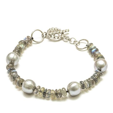 Amara Jewelry Collection Cultured Pearl and Labradorite Bracelet