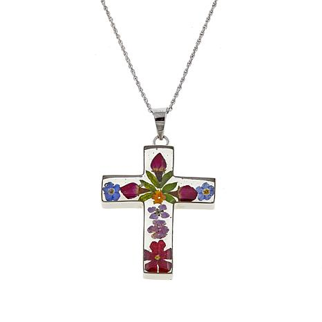 "Amena K® Silver Designs  Dried Flower Cross Pendant with 18"" Chain"