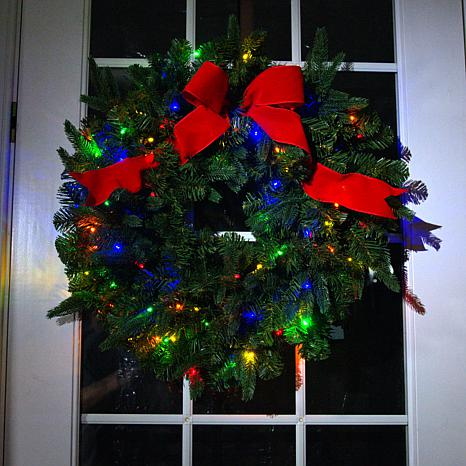 """American Tree & Wreath 26"""" Color-Changing Wreath with Remote Control"""