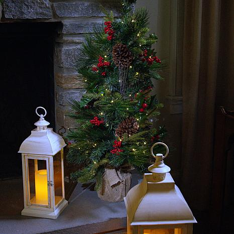 """American Tree & Wreath 34"""" Pre-Lit Potted Pinecone Berry Tree"""