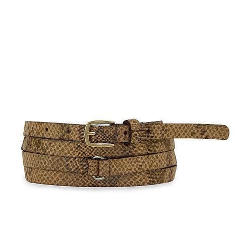 Amsterdam Heritage Luxe Debra Snake Skinny Wrap Leather Belt