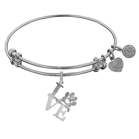 """Angelica """"Love Paw"""" Dangle Wire Expansion Bangle Bracelet"""