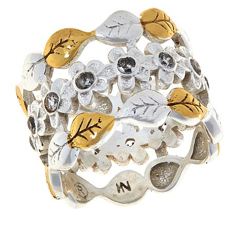 """Angie Spady """"Woman of All Seasons"""" Two-Tone Floral Band Ring"""
