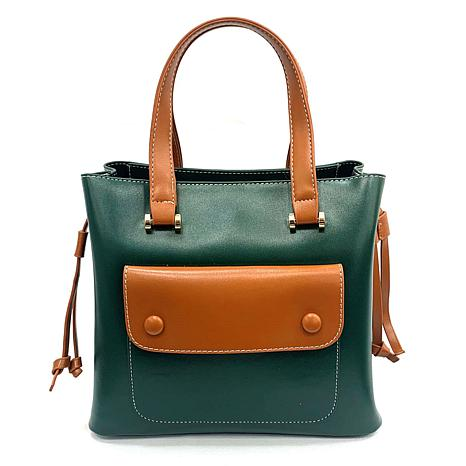Anna Cai Faux Leather Two-Tone Top Handle Tote