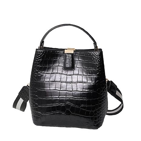 Anna Cai Genuine Leather Croc Skin Purse with Striped Strap