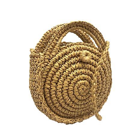 Anna Cai Round Straw Crossbody Bag