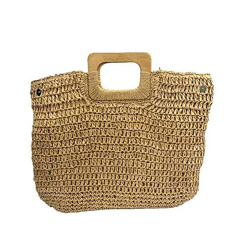 Anna Cai Straw Tote with Wooden Square Handles