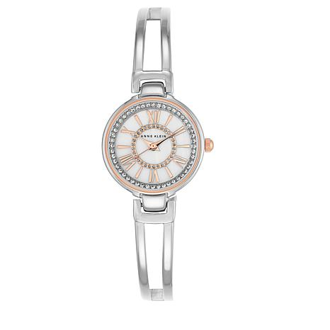Anne Klein Crystal-Accented Bangle Watch