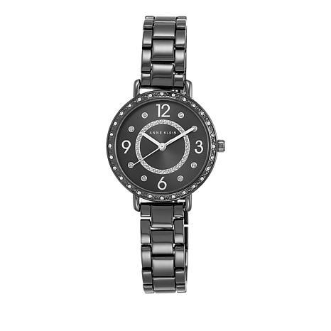 Anne Klein Crystal-Accented Gunmetal-tone Watch