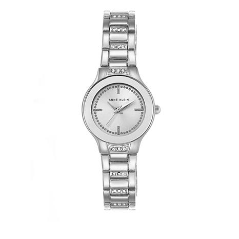 Anne Klein Crystal-Accented Pavé Links Bracelet Watch