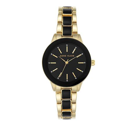 Anne Klein Goldtone Glossy Black Dial Bracelet Watch