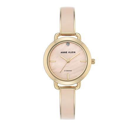 Anne Klein Goldtone Light Pink Bracelet Watch