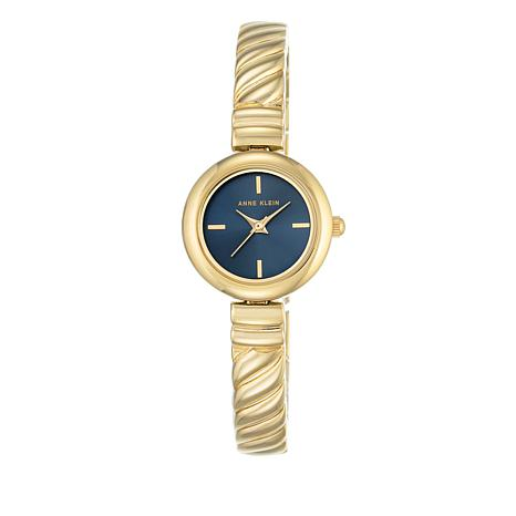 Anne Klein Goldtone Navy Blue Dial Bracelet Watch