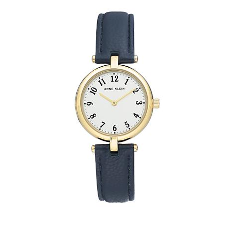 Anne Klein Goldtone Navy Faux Leather Strap Watch