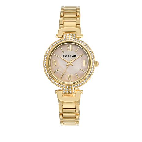 Anne Klein Goldtone Pavé Lugs Blush Dial Bracelet Watch