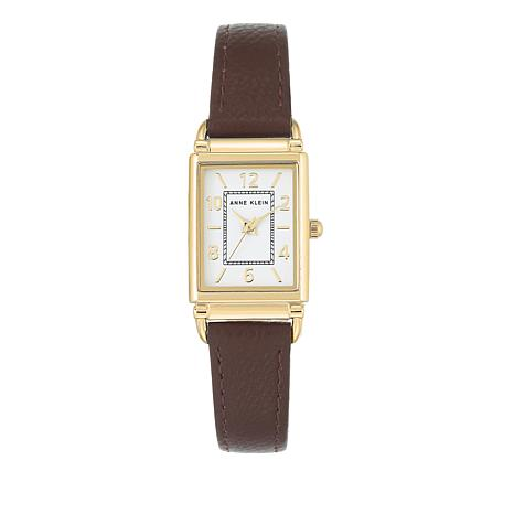 Anne Klein Goldtone Tank Case Brown Strap Watch