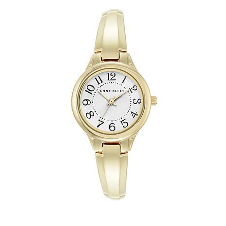 Anne Klein Goldtone White Dial Bracelet Watch