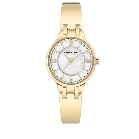 Anne Klein Goldtone White Mother-of-Pearl Dial Bangle Bracelet Watch