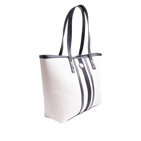 Anne Klein Perforated Striped Tote