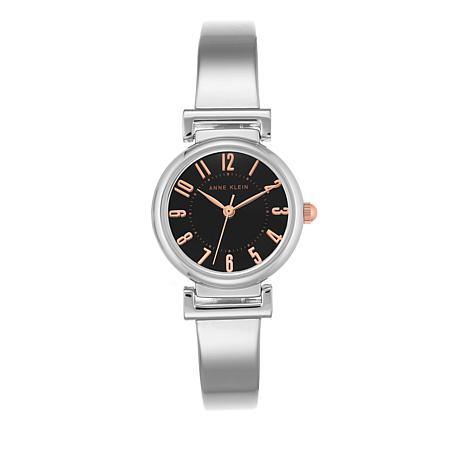 Anne Klein Silvertone Black Dial Bracelet Watch