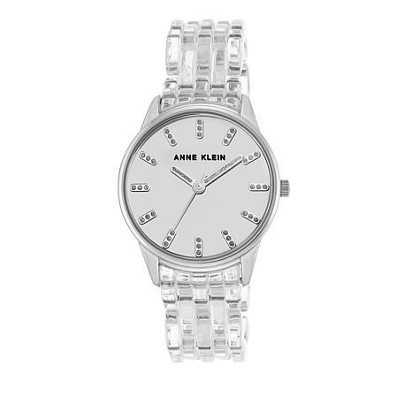 Anne Klein Silvertone Dial Clear Bracelet Watch