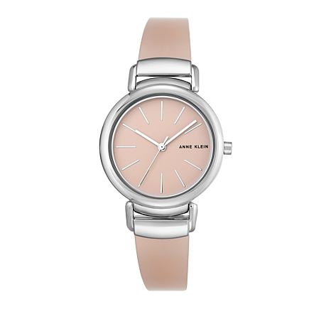 Anne Klein Silvertone Light Pink Semi-Bangle Bracelet Watch