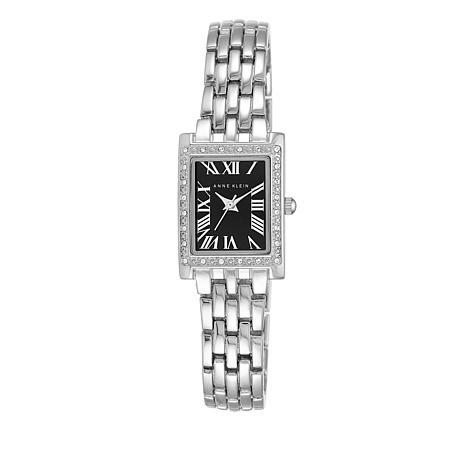 Anne Klein Tank Case Black Dial Bracelet Watch