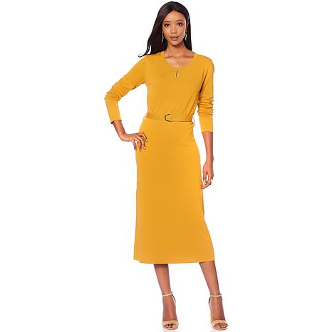 """Antthony """"Check Me Out"""" Knit Midi Dress with Keyhole"""