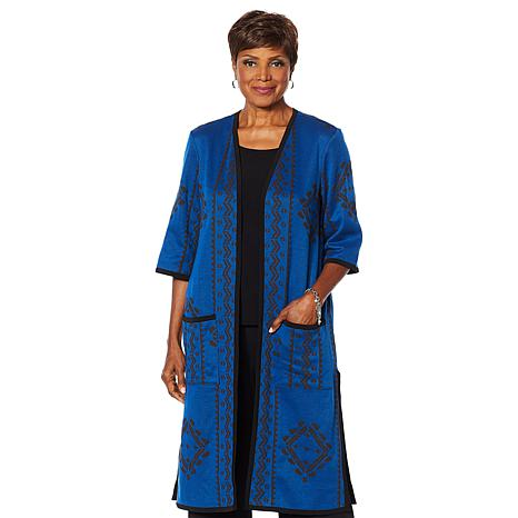 """Antthony """"Global Collection"""" Knit Duster Coat"""