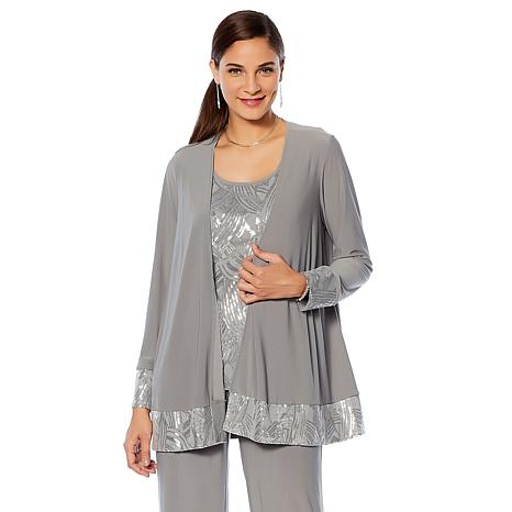 """Antthony """"Great Gatsby"""" 2-piece Sequin Tank and Sequin-Trim Jacket"""