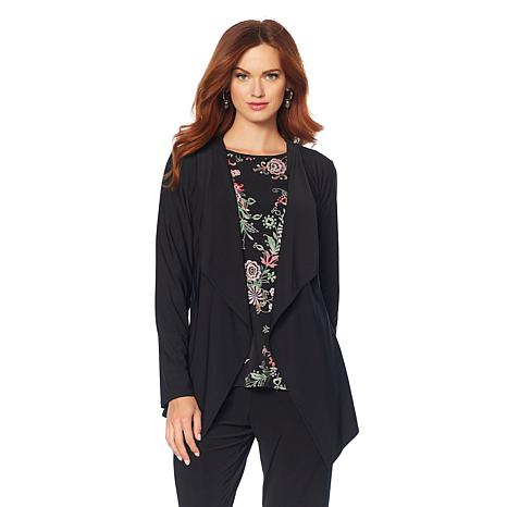 """Antthony """"Metallic Flower"""" Draped Jacket and Printed Top Set"""