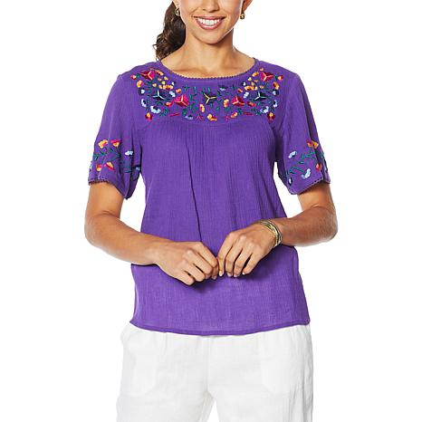 """Antthony """"Mexicali"""" Folkloric Embroidered Top"""