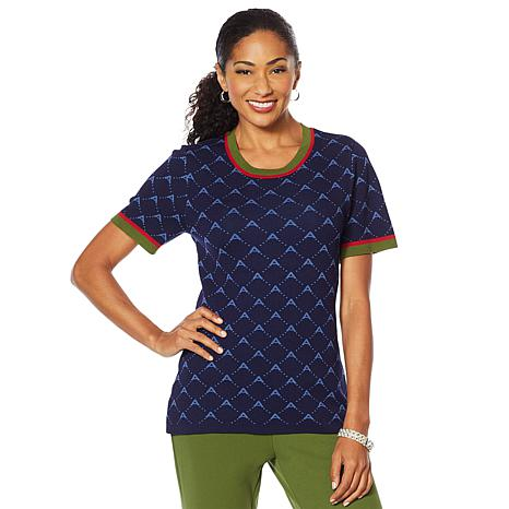 """Antthony """"Spectator Collection"""" Knit Jacquard Tee"""