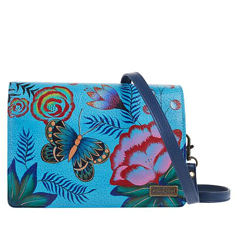 Anuschka Hand-Painted Leather Crossbody Wallet