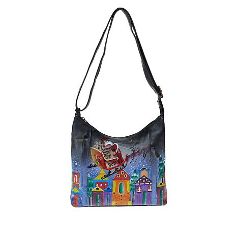 Anuschka Hand-Painted Leather Shoulder Bag with Accessories