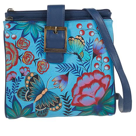 Anuschka Hand-Painted Leather Tri-Compartment Crossbody Bag