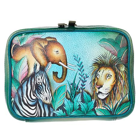 Anuschka Hand-Painted Leather Zippered Jewelry Case