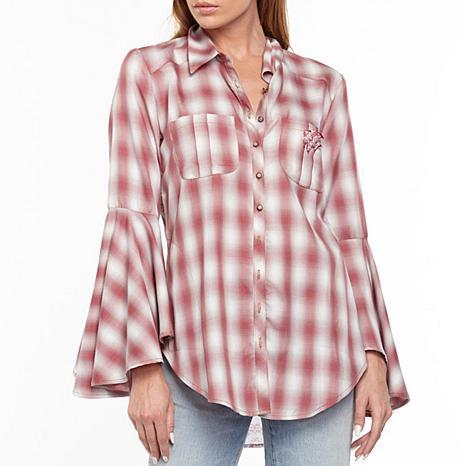 Aratta Port D'Eirissa Bell-Sleeve Plaid Shirt - Soft Red